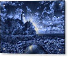 Cana Island Lighthouse Blue Acrylic Print