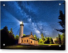 Cana Island Lighthouse Milky Way In Door County Wisconsin Acrylic Print