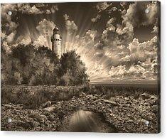 Cana Island Lighthouse Sepia Acrylic Print