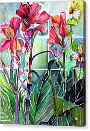 Cana Lily And Daisy Acrylic Print by Mindy Newman
