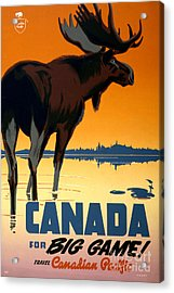 Canada Big Game Vintage Travel Poster Restored Acrylic Print