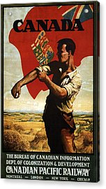 Canada - Canadian Pacific Railway - Flag - Retro Travel Poster - Vintage Poster Acrylic Print