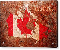 Canada Flag Map Acrylic Print by Michael Tompsett