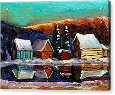 Canadian Art Laurentian Landscape Quebec Winter Scene Acrylic Print by Carole Spandau