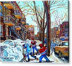 Canadian Art Street Hockey Game Verdun Montreal Memories Winter City Scene Paintings Carole Spandau Acrylic Print