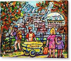 Canadian Autumn Landscape Painting Lookout Skyline Beaver Lake Mont Royal Chip Wagon C Spandau Art Acrylic Print