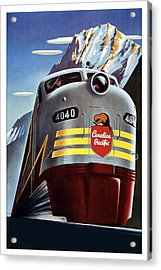 Canadian Pacific - Railroad Engine, Mountains - Retro Travel Poster - Vintage Poster Acrylic Print