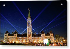 Canadian Parliament At Night Acrylic Print