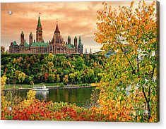 Canadian Parliament Hill In Autumn Acrylic Print