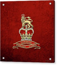 Canadian Provost Corps - C Pro C Badge Over Red Velvet Acrylic Print by Serge Averbukh