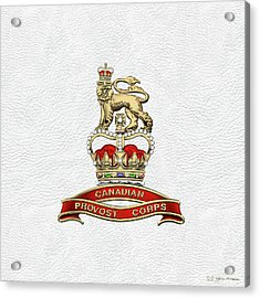 Canadian Provost Corps - C Pro C Badge Over White Leather Acrylic Print by Serge Averbukh