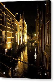 Canal At Night Acrylic Print by Ron Dubin