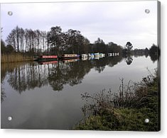 Canal Boats On The Thames Acrylic Print by Mike Lester