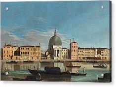 Canal Grande With The Church Of San Simeone Piccolo Acrylic Print by Apollonio Domenichini