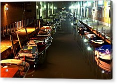 Canal In Venice At Night Acrylic Print by Michael Henderson