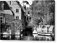 Canal Living In Bruges Acrylic Print by John Rizzuto