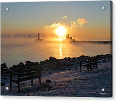 Canal Park At 18 Below Acrylic Print by Alison Gimpel