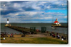 Canal Park Lighthouses Acrylic Print by Bonnie Follett
