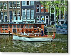 Acrylic Print featuring the photograph Amsterdam Canal Scene 10 by Allen Beatty