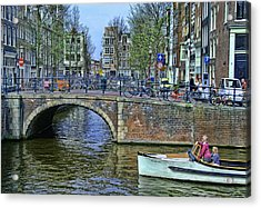 Acrylic Print featuring the photograph Amsterdam Canal Scene 3 by Allen Beatty