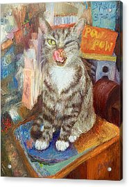 Canal St.bodega Cat By Register Acrylic Print by Joan Meyer