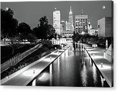 Canal Walk To The Downtown Indianapolis Skyline - Black And White Acrylic Print