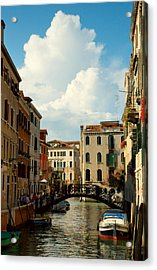Canal With Iron Bridge In Venice Acrylic Print by Michael Henderson