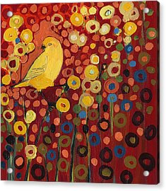Canary In Red Acrylic Print by Jennifer Lommers