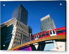 Canary Wharf Commute Acrylic Print by Jasna Buncic