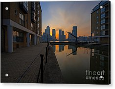 Canary Wharf Sunrise Acrylic Print by Donald Davis
