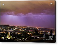 Acrylic Print featuring the photograph Canberra Lightning Storm by Angela DeFrias