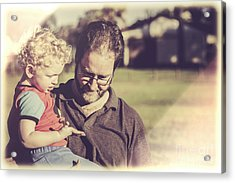Candid Retro Father And Son Talking Acrylic Print by Jorgo Photography - Wall Art Gallery