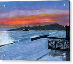 Acrylic Print featuring the painting Candidasa Sunset Bali Indonesia by Melly Terpening