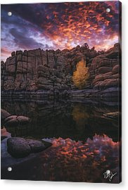 Candle Lit Lake Acrylic Print by Peter Coskun