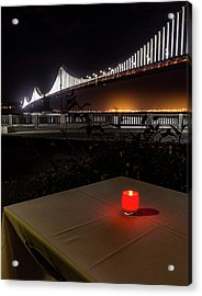Acrylic Print featuring the photograph Candle Lit Table Under The Bridge by Darcy Michaelchuk