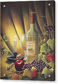 Candlelight Wine And Grapes Acrylic Print by Diana Miller