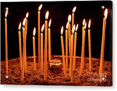 Candles At The Church Of Holy Luke At Monastery Of Hosios Loukas In Greece Acrylic Print by Global Light Photography - Nicole Leffer
