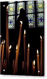 Candles Burning Inside The Basilica Of The Saint Sauveur Acrylic Print by Sami Sarkis