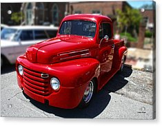 Candy Apple Red F1 Chevy Truck Acrylic Print by Lesa Fine
