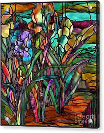 Candy Coated Irises Acrylic Print by Mindy Sommers
