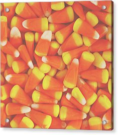 Candy Corn Square- By Linda Woods Acrylic Print by Linda Woods