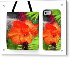 Canna Lily Red Bloom Tote Phone Case Set Acrylic Print
