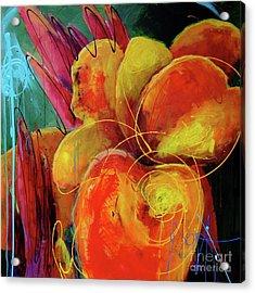 Canna Lily Acrylic Print by Roxanne Fawcett