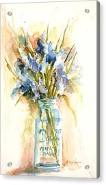 Acrylic Print featuring the painting Canning Irises by Sandra Strohschein