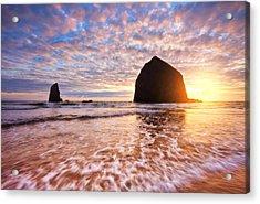 Cannon Beach Sunset Classic Acrylic Print by Darren  White