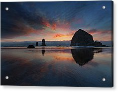 Cannon Beach Sunset Acrylic Print by David Gn