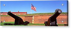 Cannons And Wall At Fort Mchenry Acrylic Print by Panoramic Images
