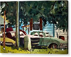 Acrylic Print featuring the painting Cannus Auto And Used Cars Framed by Charlie Spear
