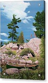 Canoe Among The Rocks Acrylic Print