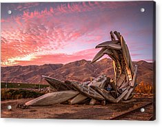 Canoe Art Sculpture With Pink Clouds Acrylic Print